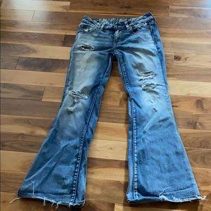 Distressed AE boho artist jeans size 8